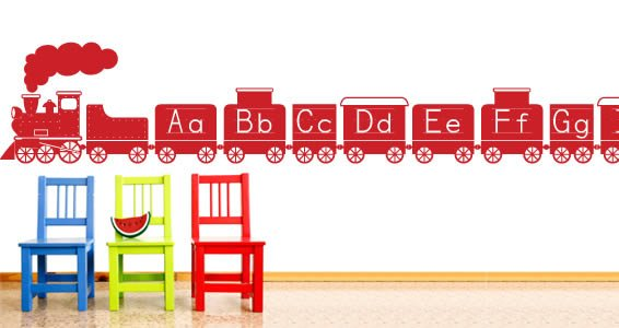A to z alphabet train wall decals dezign with a z for Alphabet wall mural