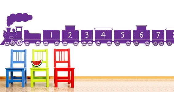 1 to 10 Numbers Funny Train wall stickers
