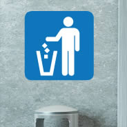 Trash Here sign decal