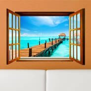 Tropical Sea Paradise - Faux Window