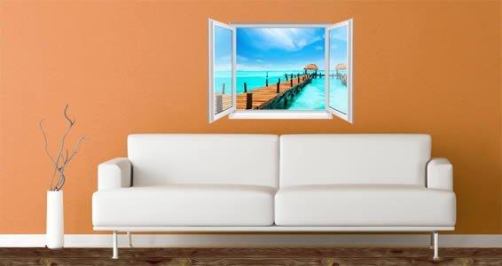 Tropical Sea Paradise Faux Window Murals