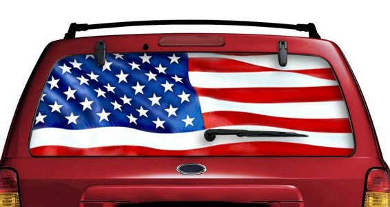 American Flag See Through Car Window Decals Dezign With A Z