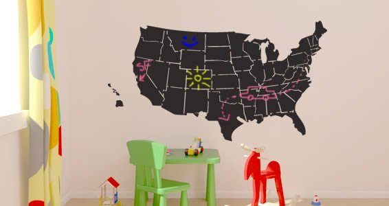 USA Map chalkboard wall tattoo
