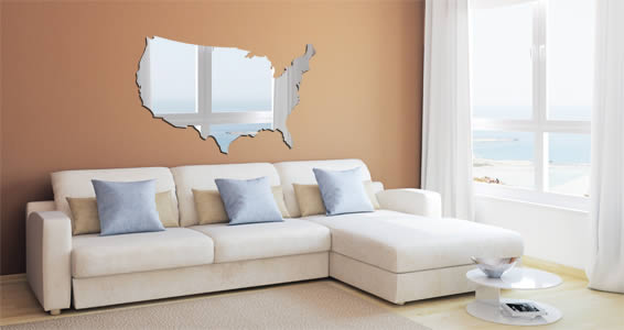 USA Map wall mirrors