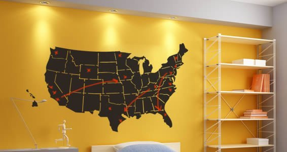 Usa Map Chalkboard Wall Stickers Dezign With A Z