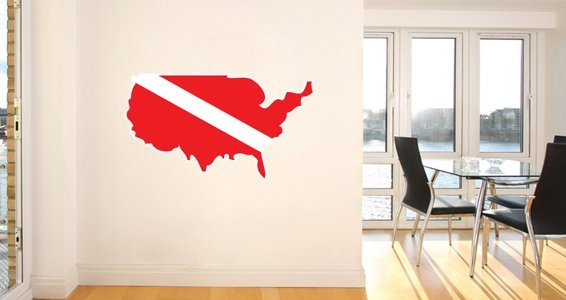 SCUBA World Countries wall decals