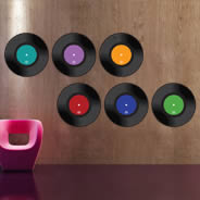 Retro Vinyl Disks Set wall decals