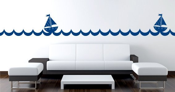 Sailboat waves wall borders