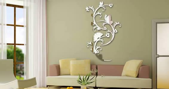 Asian Flowers acrylic wall mirrors