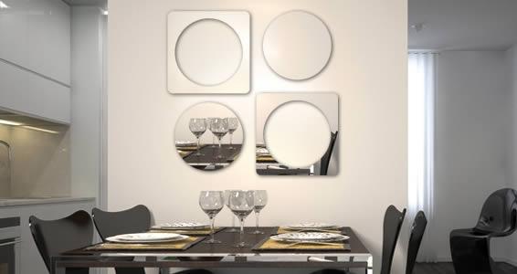 Cube & Circle resin wall mirror