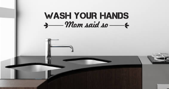 Wash Your Hands Quote Wall Decal