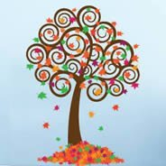 Whimsical Fall Tree wall stickers