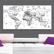 White World Maps wall canvas