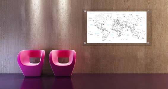 World Map Dry Erase Plexiglass Stand Off