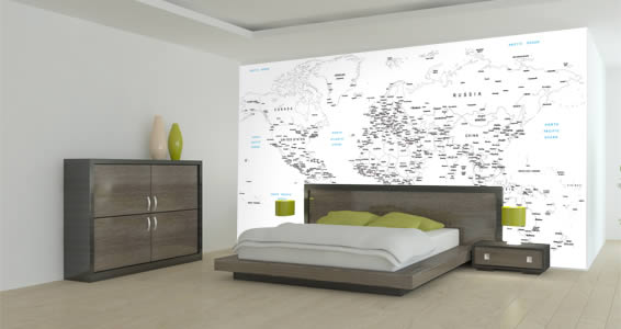 White World Map Wall Mural