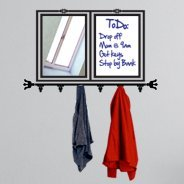 All In One Whiteboard Coat Rack Mirror wall sticker