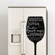 Wine Glass - Decals Fridge Skins