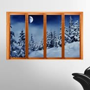 Snow Den Forest Faux Window Murals