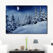 Snow Winter Moon Night digital canvas