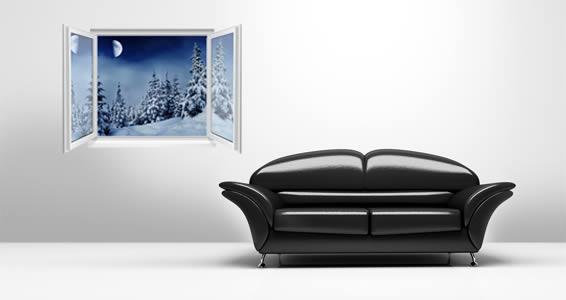 Snow Den Forest Faux Window Murals
