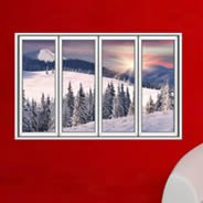 Snow Winter Tree Faux Window Murals