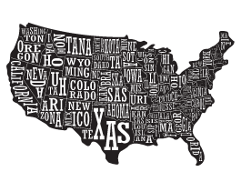 Word Art US Map decal