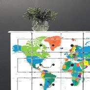 World Countries Map Dry Erase Furniture Sticker Skin