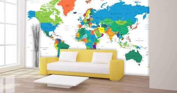 Dry Erase World Map Wall Decals Country Names
