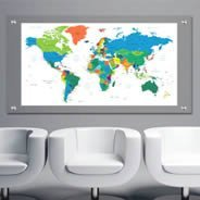 World Countries Maps Dry Erase Plexiglass Stand Off