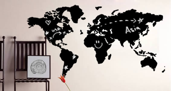 World Map Chalkboard Wall Decals