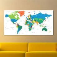 World Map Names wall canvas