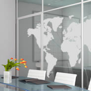 World Map frosted window decals