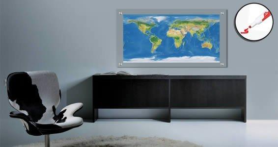 World Maps Plexiglass Dry Erase Stand Off