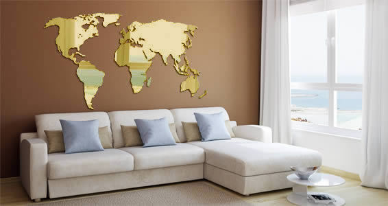 world map wall mirror dezign with a z