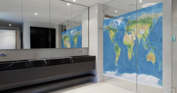 World Map See Through Window Decals Dezign With A Z - Floor to ceiling world map
