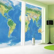 World Map see through window decals