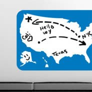 US Map whiteboard wall decals