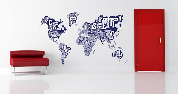 World Word Art Map decal