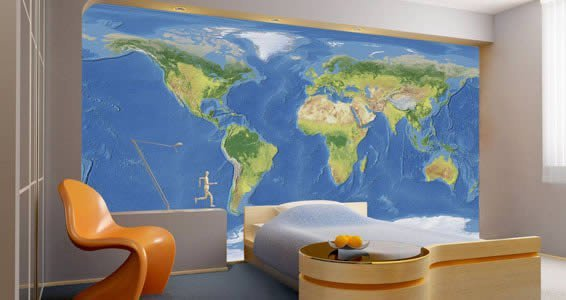 Marvelous World Map Wall Mural Amazing Design
