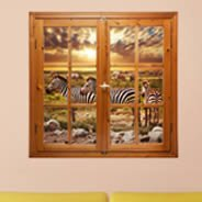 Zebra Jungle Faux Window Murals