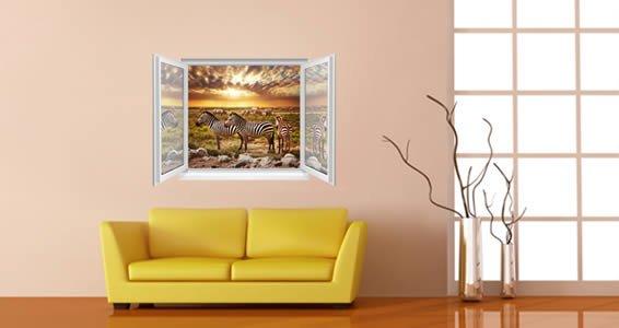 Zebra Jungle Faux Window Murals