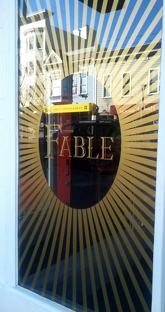 custom logo window decal for Fable restaurant