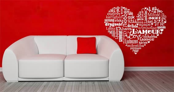 The language of Love wall decal displays the word