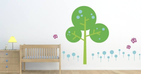 bubbly tree wall decal