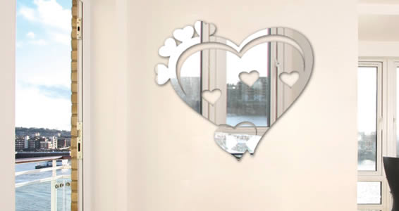 Our custom lettering heart mirror is an acrylic mirror which is a light type of mirror yet resistant.