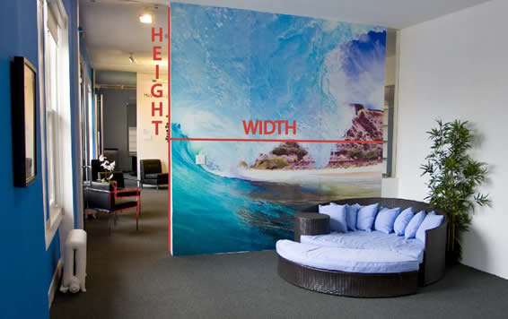 Height and width on a wall decal