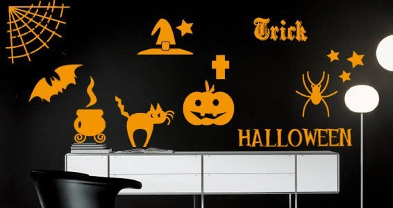 Halloween decals displaying bats, witch hats, cat, spiderweb, pumpkin, etc.