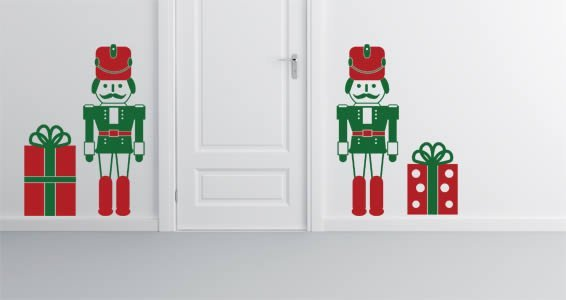 Lovely nutcracker decal displaying 2 nutcrackers and 2 gift boxes.