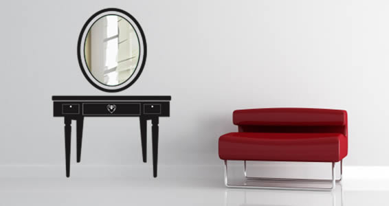 Vanity table acrylic mirror, furniture decal.